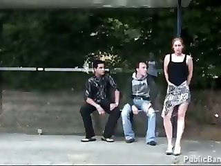 Public Sex Extreme Bus Stop Threesome