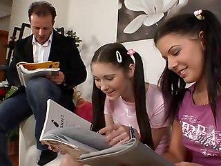 Teacher And 2 Female Teen Students