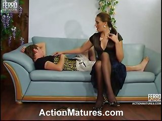Mature Woman Taking Care Of A Younger Boy